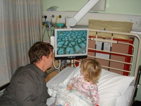 hospital monitor arm brings entertainment